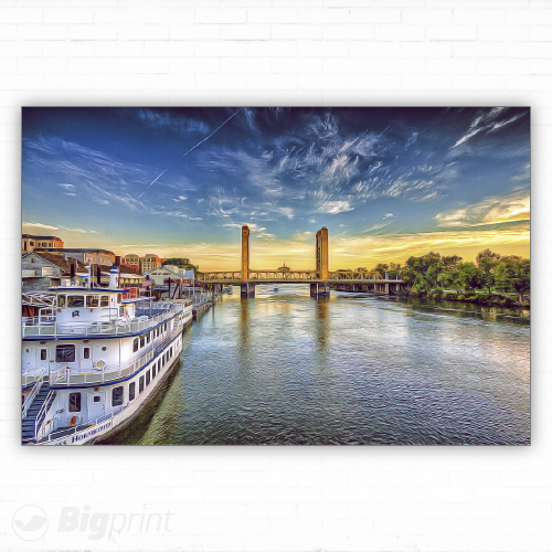 oil painting of Old Sacramento I Street bridge on the American River at sunset