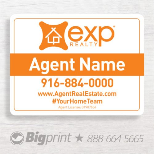 EXP Realty sign, white and orange